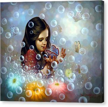 Soap Bubble Girl 2 Canvas Print