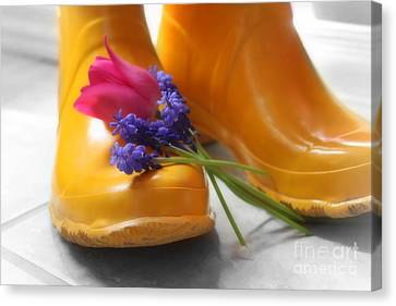 Canvas Print featuring the photograph  Spring Boots by Cathy  Beharriell