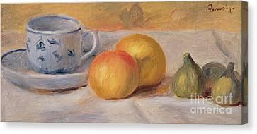 Still Life With Blue Cup Nature Morte A La Tasse Bleue Canvas Print by Pierre Auguste Renoir