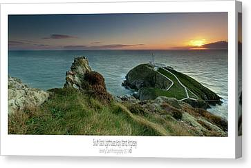 Canvas Print featuring the photograph  Sunset At South Stack Lighthouse by Beverly Cash