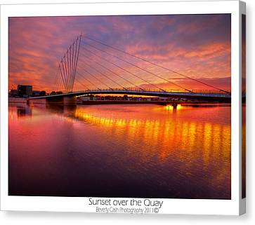 Canvas Print featuring the photograph  Sunset Over The Quay by Beverly Cash