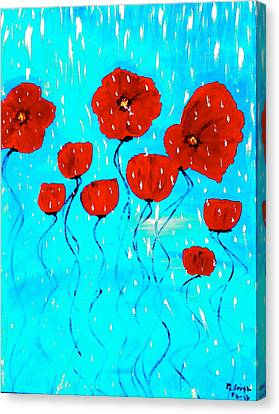 The Red Poppies Dancing In The Rain Canvas Print by Pretchill Smith