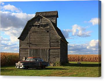 Vintage Cadillac And Barn Canvas Print by Lyle Hatch