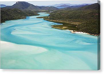 Whitehaven Beach And Hill Inlet In Whitsunday Islands National Park, Queensland, Australia Canvas Print by Peter Walton Photography