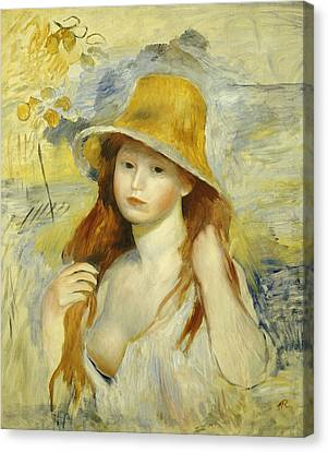 Young Girl With A Straw Hat Canvas Print by Pierre Auguste Renoir