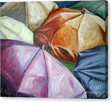 Canvas Print featuring the painting 01132 Beach Umbrellas by AnneKarin Glass
