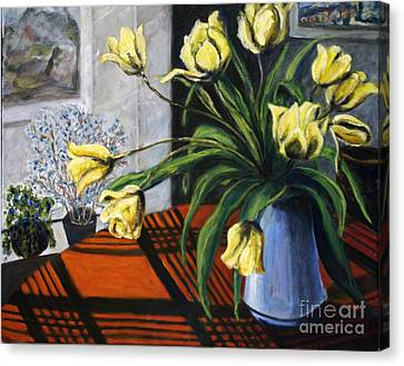 Canvas Print featuring the painting 01218 Yellow Tulips by AnneKarin Glass
