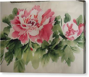 Canvas Print featuring the painting  Flower 0727-1 by Dongling Sun