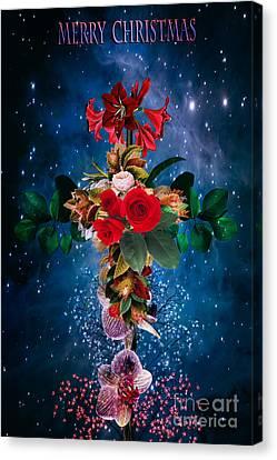 Crucifix Art Canvas Print -  Merry Christmas by Andrzej Szczerski