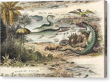 1849 The Antidiluvian World Crop Jurassic Canvas Print by Paul D Stewart