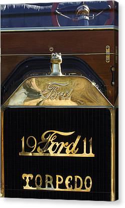 1911 Ford Model T Torpedo Hood Ornament Canvas Print by Jill Reger