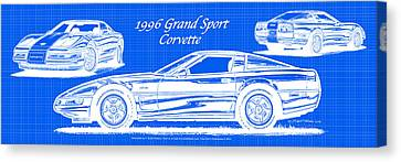 1996 Grand Sport Corvette Blueprint Canvas Print by K Scott Teeters