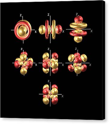 5f Electron Orbitals, Cubic Set Canvas Print by Dr Mark J. Winter