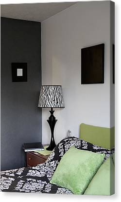 A Bedroom In A House. A Double Bed Canvas Print by Christian Scully