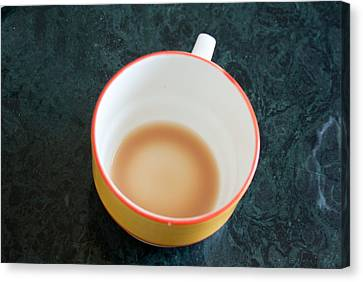A Cup With The Remains Of Tea On A Green Table Canvas Print by Ashish Agarwal