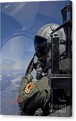 A F-15 Pilot  Looks Over At His Wingman Canvas Print by HIGH-G Productions
