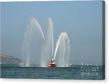 A Fire Boat Canvas Print