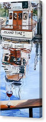Canvas Print featuring the painting A Glass Of Wine And Island Time by Rae Andrews