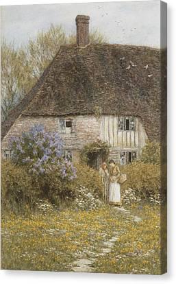 Women. Eighteenth Century Canvas Print - A Kentish Cottage by Helen Allingham