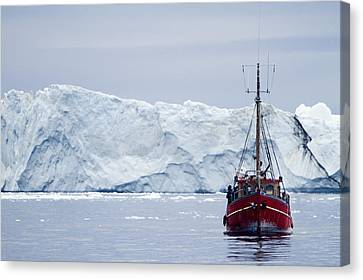 A Midnight Cruise Around The Ilulissat Canvas Print by Axiom Photographic