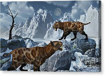 A Pair Of Sabre-toothed Tigers Canvas Print by Mark Stevenson
