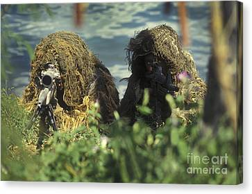 A Seal Sniper Swim Pair Set Up An Canvas Print by Michael Wood