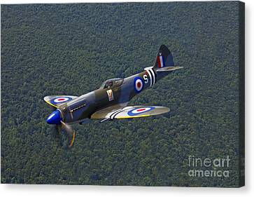 A Supermarine Spitfire Mk-18 In Flight Canvas Print by Scott Germain