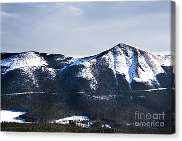 A View Of Snowy Mountains From Pikes Peak Canvas Print by Ellie Teramoto