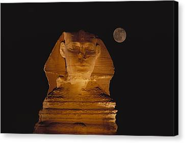 A View Of The Great Sphinx At Night Canvas Print by Bill Ellzey
