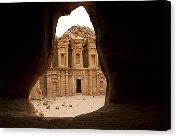 A View Of The Monastary In Petra Canvas Print by Taylor S. Kennedy