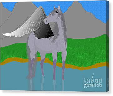 A Wary Drink Canvas Print by Rebecca Volke