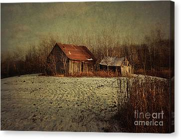 Abandoned Barn After The First Snow Canvas Print