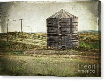 Abandoned Wood Grain Storage Bin In Saskatchewan Canvas Print by Sandra Cunningham