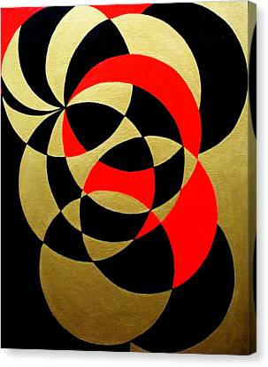 Abstract In Gold Black And Red Canvas Print by Marie Schwarzer
