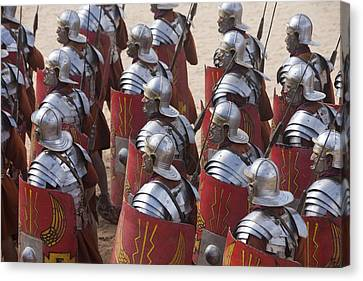 Actors Re-enact A Roman Legionaries Canvas Print by Taylor S. Kennedy