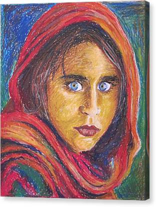 Afganistan Girl Canvas Print by Ema Dolinar Lovsin