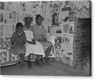 African American Mother With Her Two Canvas Print by Everett