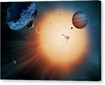 Alien Planet And Asteroid, Artwork Canvas Print by Detlev Van Ravenswaay