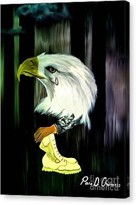 Canvas Print featuring the painting American Eagle Cries by Ayasha Loya