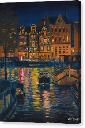 Amsterdam At Night Canvas Print