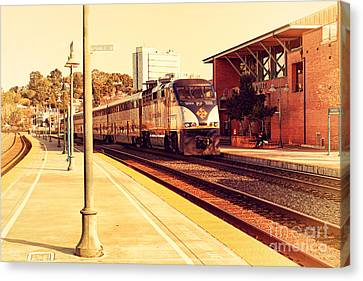 Amtrak Train At The Martinez California Train Station . 7d10495 Canvas Print by Wingsdomain Art and Photography