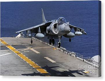 An Av-8b Harrier Jet Lands Canvas Print by Stocktrek Images