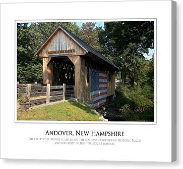 Andover Nh Historical Bridge Canvas Print by Jim McDonald Photography