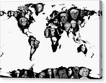 Andy Warhol World Map Canvas Print by Stephen Walker