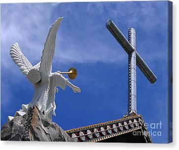 Angel And Cross Canvas Print by Yali Shi