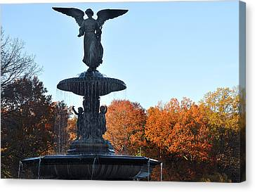 Canvas Print featuring the photograph Angel Central Park by Diane Lent