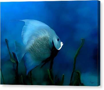 Canvas Print featuring the digital art Angelfish by John Pangia