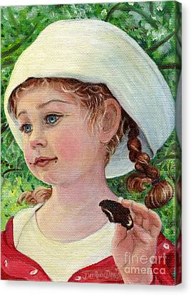 Annie In Dad's Sailor Hat Canvas Print
