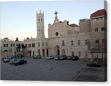 Annunciation Latin Church In Beit Jala Canvas Print by Munir Alawi