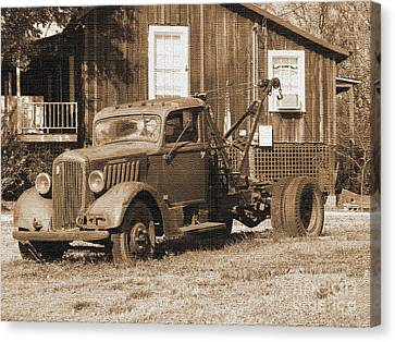 Antique Tow Truck Canvas Print by Barbara Bowen